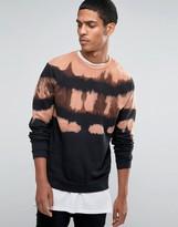 Asos Sweatshirt With Camel Yoke Dip Dye