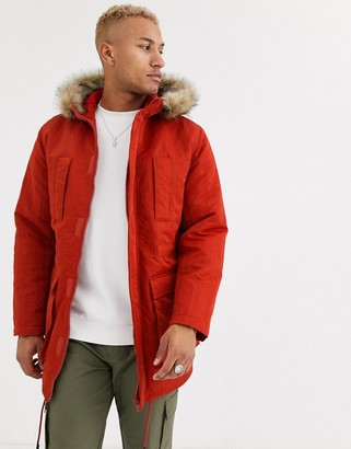 Asos Design DESIGN parka jacket in orange with faux fur lining