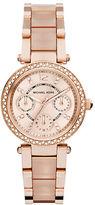 Michael Kors Mini Parker Pavé Rose Goldtone Stainless Steel & Acetate Chronograph Bracelet Watch
