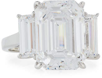 FANTASIA Emerald-Cut CZ Ring w/ Baguettes, Sizes 6-8