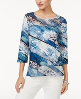 Alfred Dunner Petite Embellished Printed Top