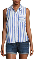 Arizona Sleeveless Stripe Button-Front Shirt-Juniors