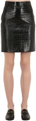 Gucci Croc Embossed Leather Mini Skirt