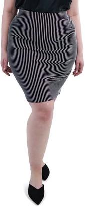 Marée Pour Toi Textured Stripe Skirt (Plus Size)