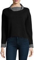Milly Contrast-Trim Reversible Funnel-Neck Pullover, Black/Gray