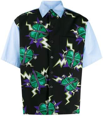 Prada heart print panelled shirt