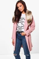 boohoo Eliza Faux Fur Collar Wool Look Coat