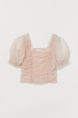 H&M Puff-sleeved Mesh Top
