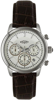 Rotary Gs02876/06 Monaco Chronograph Leather Strap Watch, Brown/silver