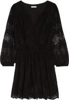 Joie Bittern lace-paneled silk-chiffon mini dress