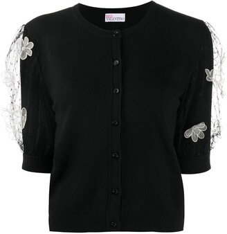 RED Valentino Floral Applique Tulle Sleeves Jumper