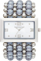 Charter Club Women's Silver-Tone Imitation Pearl Stretch Bracelet Watch 40mm, Only at Macy's