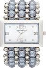 charter club womens silvertone imitation pearl stretch bracelet watch 40mm only at macys