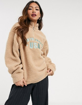 Daisy Street oversized sweatshirt with north dakota embroidery in teddy fleece
