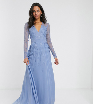 Asos Tall DESIGN Tall embroidered pleated mesh detail maxi dress-Grey