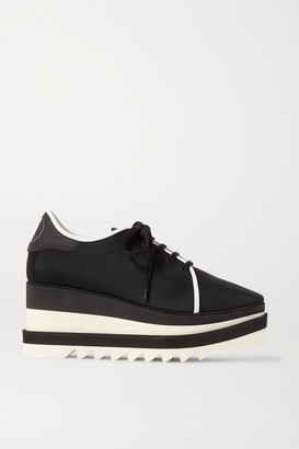 Stella McCartney Elyse Faux Suede-trimmed Neoprene Platform Brogues - Black