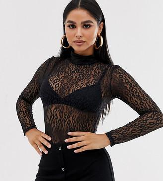 Club L London Petite sheer bodysuit in black leopard print