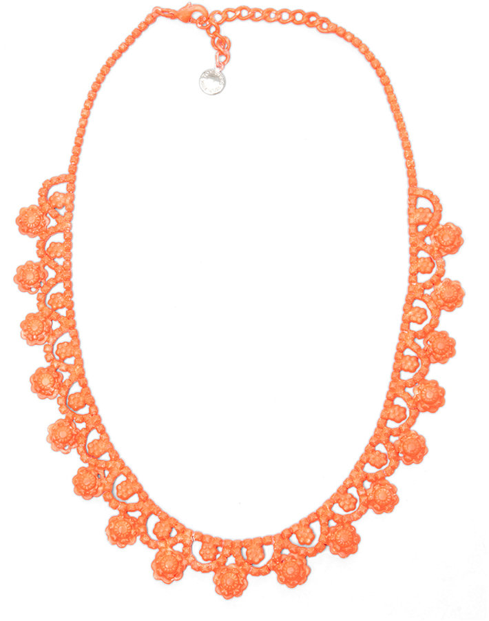 Tom Binns Neo Neon Hand Painted Rhodium Necklace in Orange