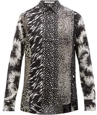 Givenchy Panelled G-print Silk-twill Shirt - Mens - Black
