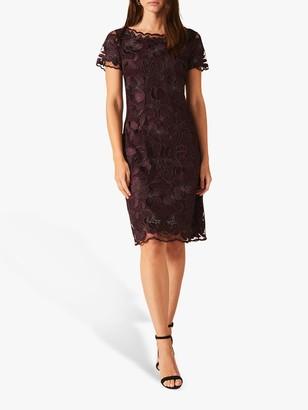 Phase Eight Nessa Embroidered Dress, Grape Purple