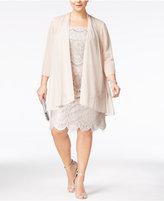 R & M Richards Plus Size Lace Dress And Chiffon Jacket
