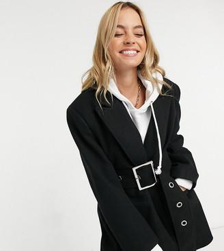 ASOS DESIGN Petite eyelet belt grandad coat in black