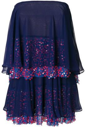 Talbot Runhof Tiered Sequined Sleeveless Dress