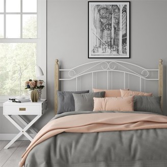 Dorel Living Costello Wood and Metal Full Queen Headboard, Ivory
