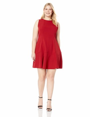 Anne Klein Women's Size Plus Sleeveless Crepe FIT and Flare Dress