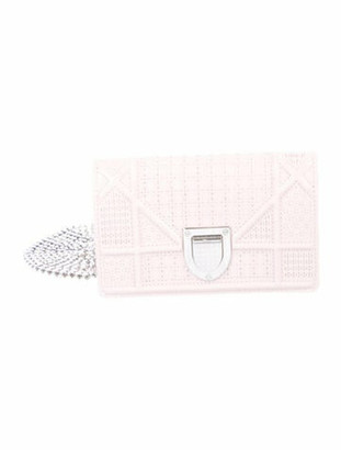 Christian Dior MicroCannage Baby Diorama Wallet on Chain Pink