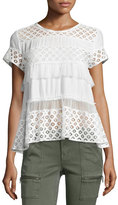 Cinq à Sept Clothing Delfine Short-Sleeve Lace Top