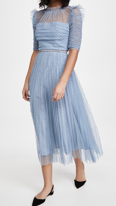 Self-Portrait Dot Mesh Trim Midi Dress