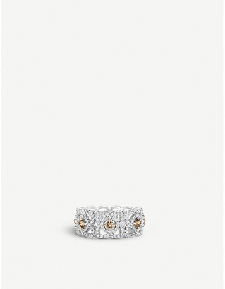 De Beers Women's White Enchanted Lotus 18ct White-Gold And Diamond Ring, Size: 51mm