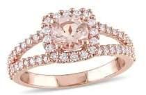 Sonatina 14K Rose Gold & Morganite Halo Split Shank Engagement Ring