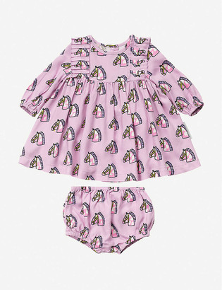Stella McCartney Horse-print cotton-jersey dress set 6-36 months