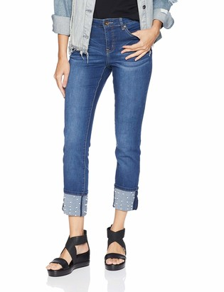 Tribal Women's 5 Pocket Skinny Jean with Pearl Bead Hem