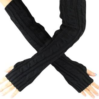 Huyuri Hemp Flowers Fingerless Knitted Long Gloves