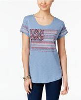 Style&Co. Style & Co Embroidered Flag T-Shirt, Only at Macy's