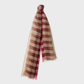 Paul Smith Women's Taupe And Pink Partial Gingham Wool Scarf