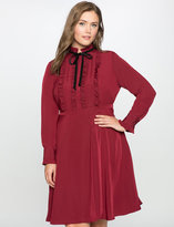 ELOQUII Plus Size Ruffle Shirtdress with Velvet Detail