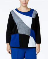 Alfred Dunner Plus Size High Roller Colorblocked Studded Sweater