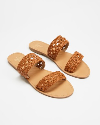 Spurr Women's Brown Flat Sandals - Tayla Woven Slides - Size 7 at The Iconic