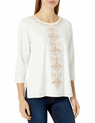 Alfred Dunner Women's Center Embroidery Knit