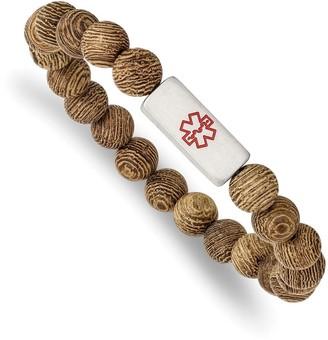 Chisel Stainless Steel Brushed with Enamel Medical ID Wenge Wood Bracelet