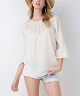 Jane Natural Lace-Accent Three-Quarter Sleeve Tunic