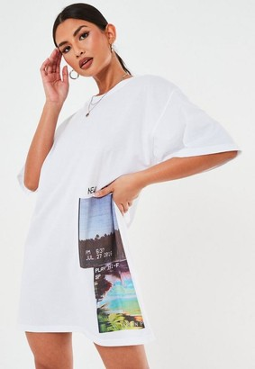 Missguided White Oversized New Season Graphic T Shirt Dress