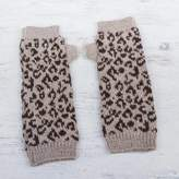 Alpaca Fingerless Mitts Knitted with Leopard Prints, 'Leopard Paths'