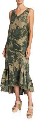 XCVI Camo Tropical V-Neck Sleeveless High-Low Dress