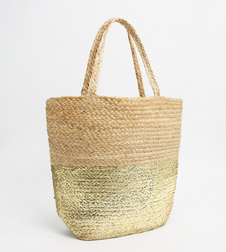 Accessorize straw gold dipped tote bag in beige