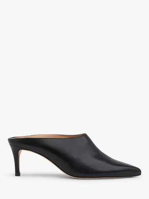 LK Bennett Hettie Backless Mid Heel Leather Court Shoes, Black